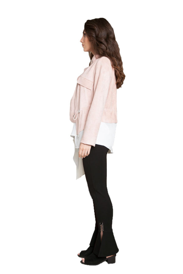 pink layered jacket- side