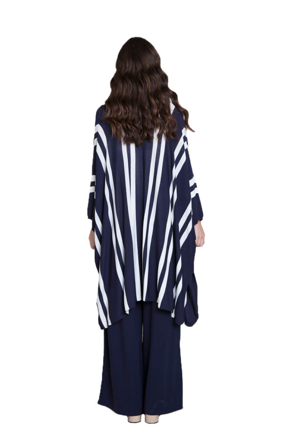 navy sweater with stripes- back