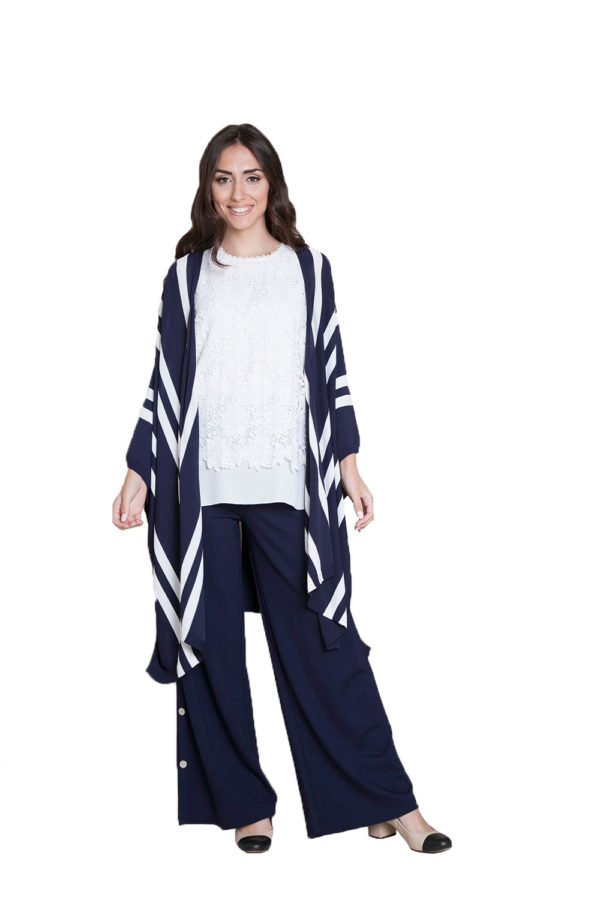 navy sweater with stripes- front
