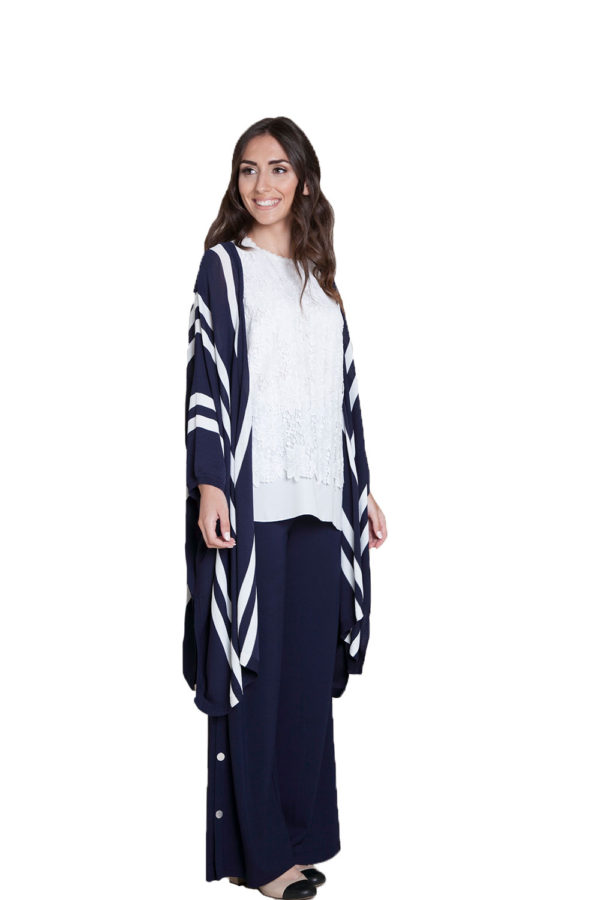 navy sweater with stripes- side