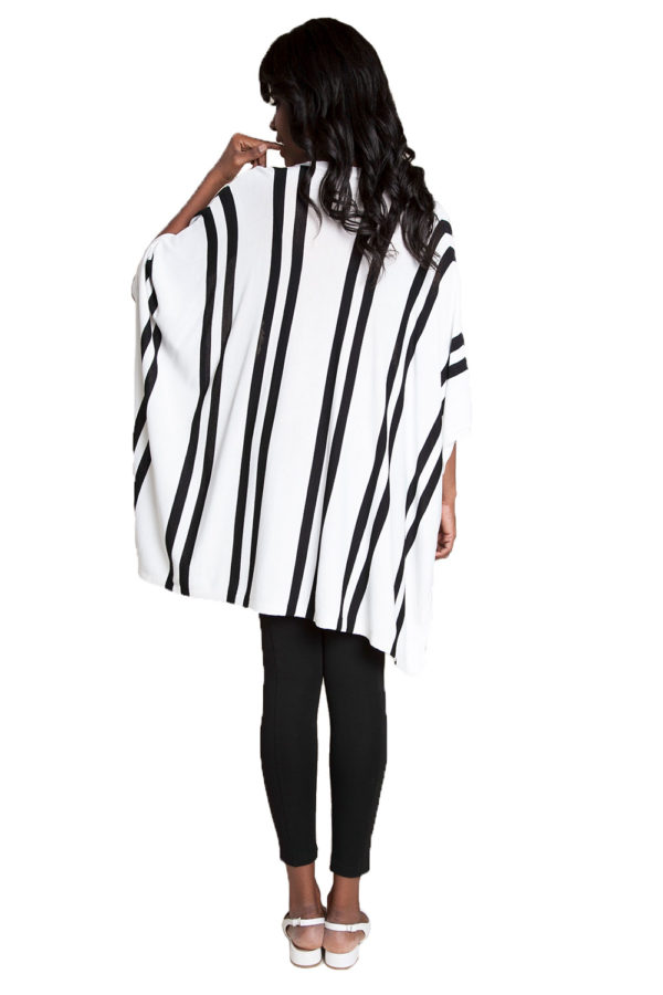 white sweater with stripes- back