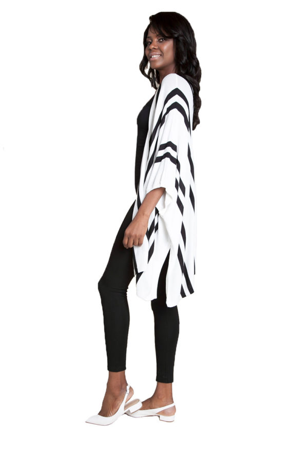 white sweater with stripes- side