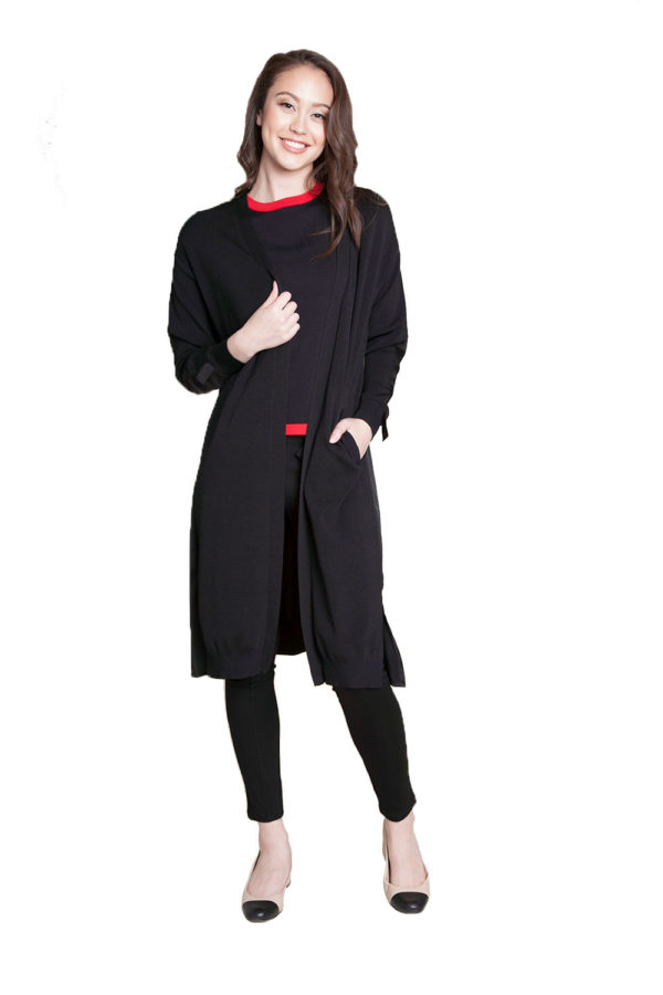 black duster with tie- front