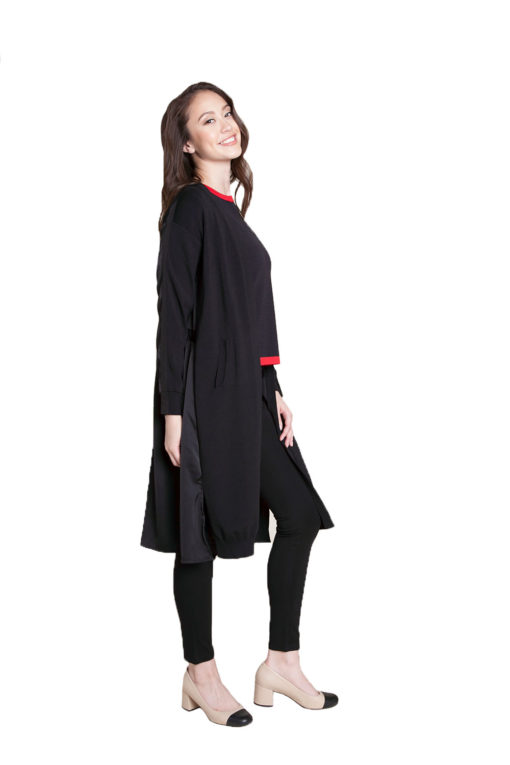 black duster with tie- side