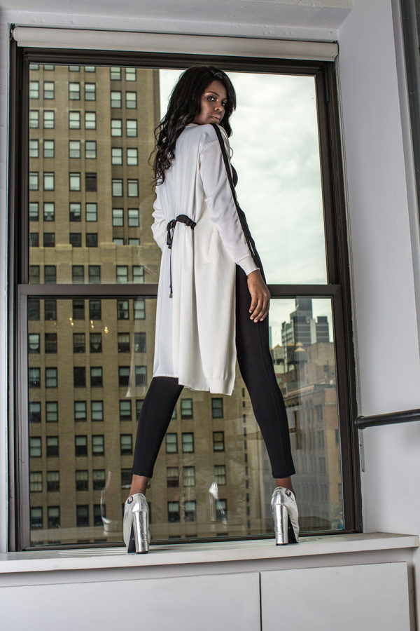 white duster with tie- back