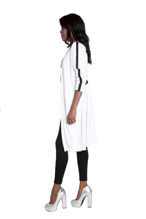 white duster with tie- side