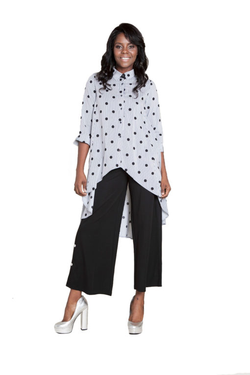 printed asymmetrical blouse- front