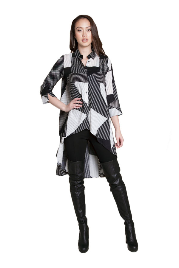 printed asymmetrical tunic- front