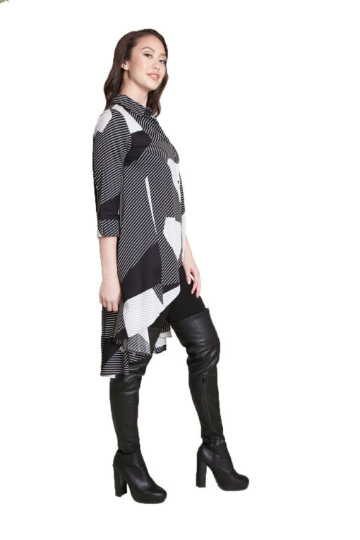 printed asymmetrical tunic- side