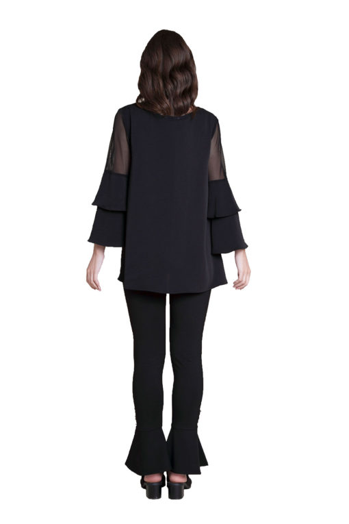 black ruffle sleeve top- back