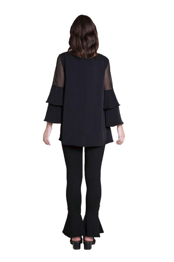 black ruffle sleeve top- back