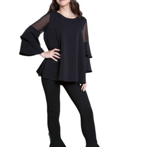 black ruffle sleeve top- front