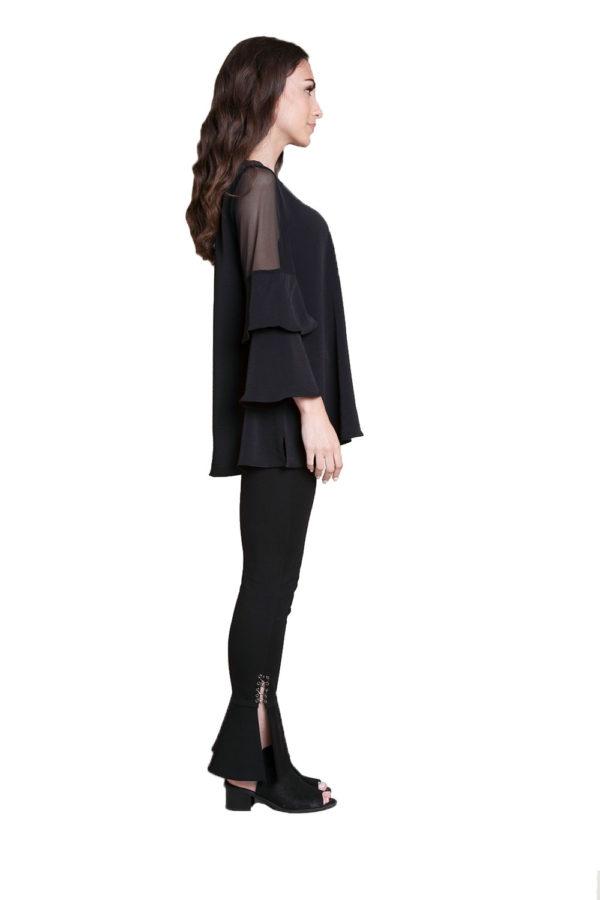 black ruffle sleeve top- side