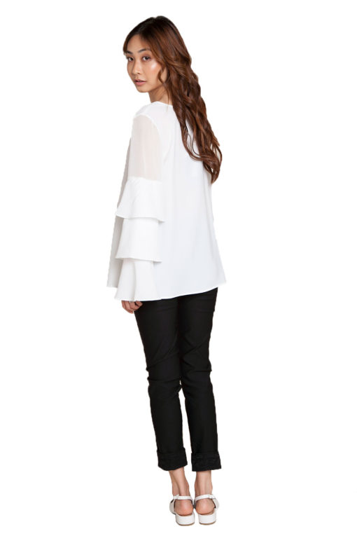 white ruffle sleeve top- back