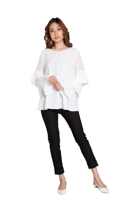 white ruffle sleeve top- front