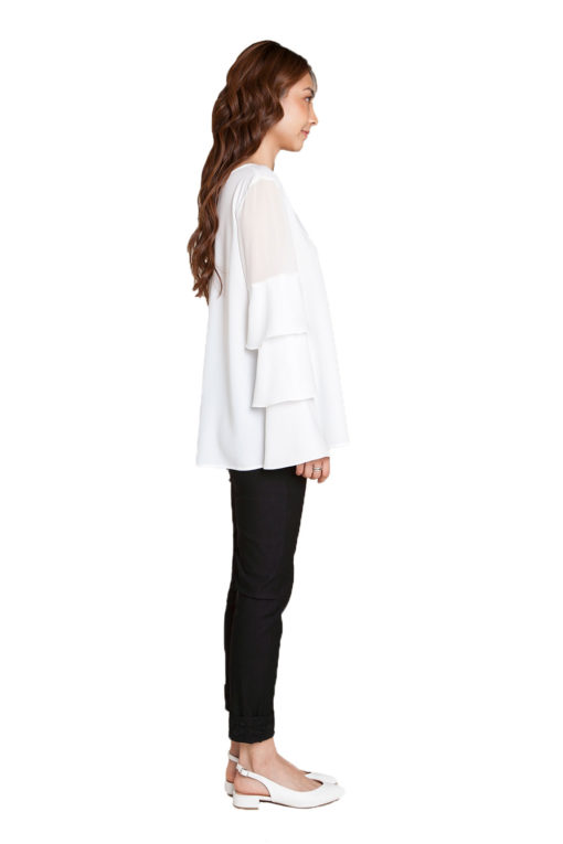 white ruffle sleeve top- side