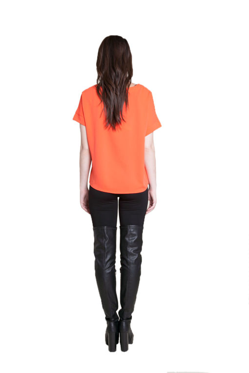 coral button front top- back