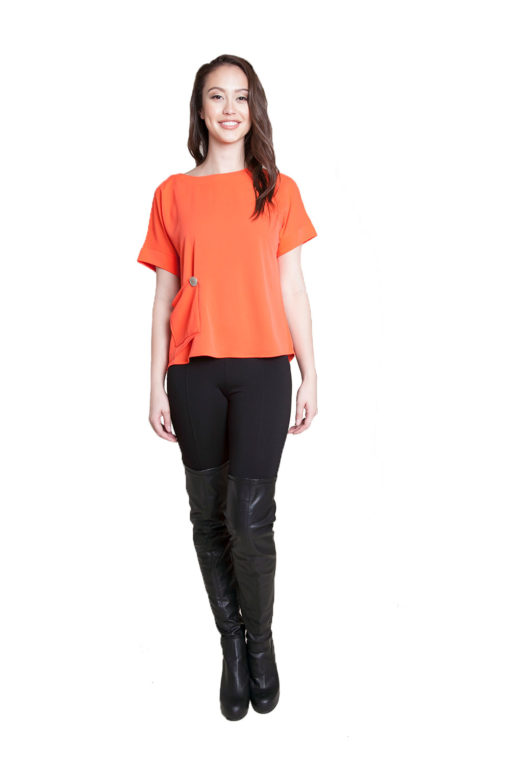 coral button front top- front