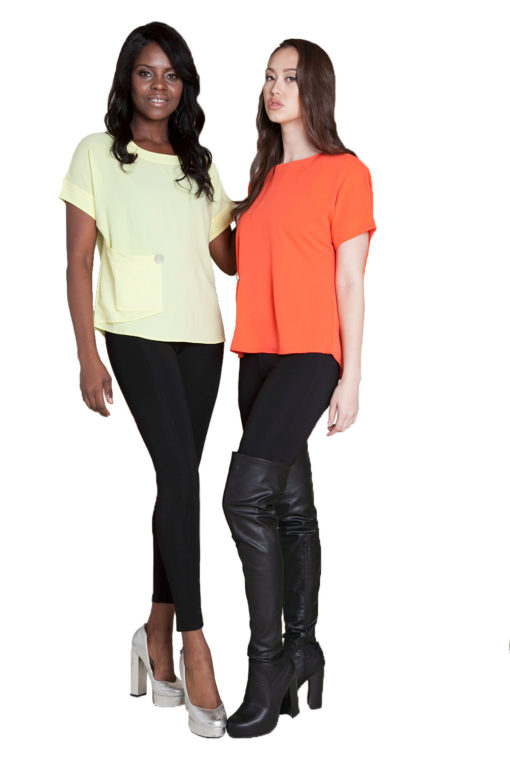 yellow and coral button front top- front