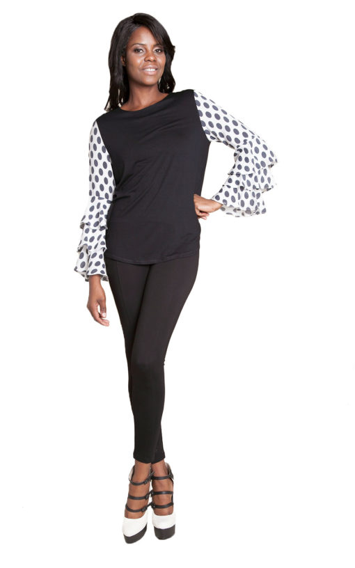 black top with polka dot sleeves- front