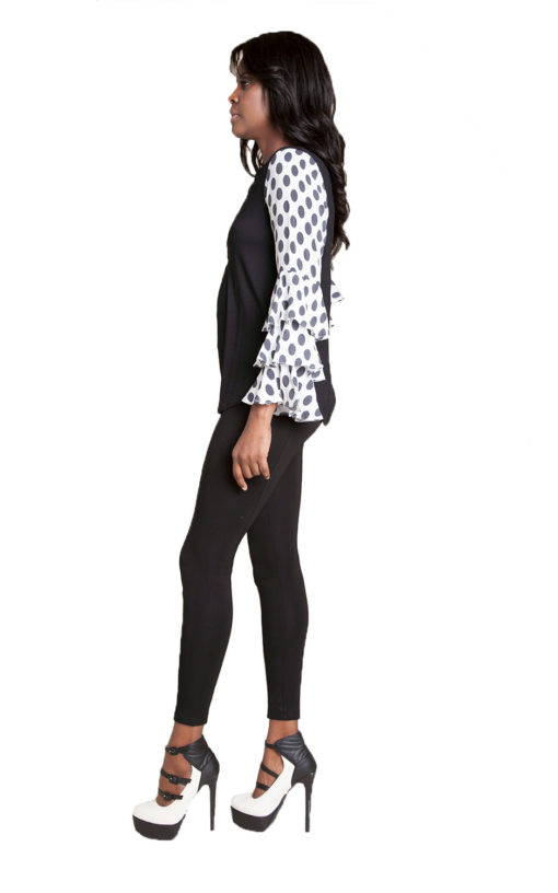 black top with polka dot sleeves- side
