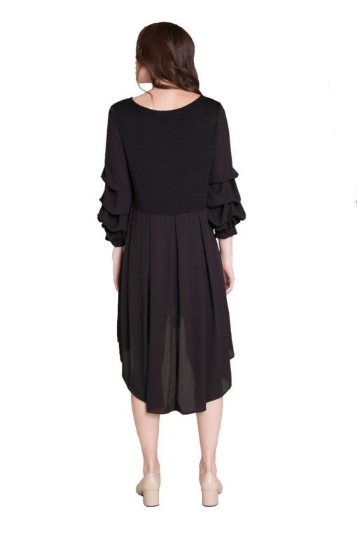 black asymmetrical ruffle sleeve top- back