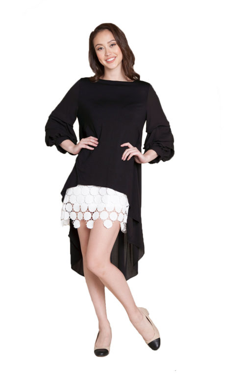 black asymmetrical ruffle sleeve top- front