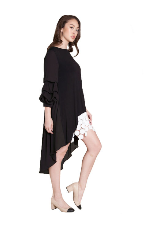 black asymmetrical ruffle top- side
