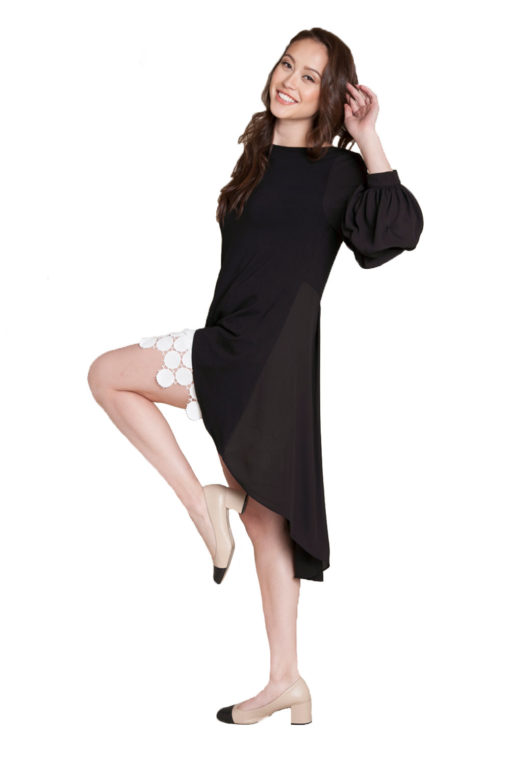 black asymmetrical ruffle sleeve top- side