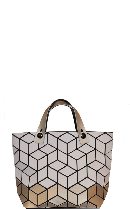 geometric two tone mini bag- white gold