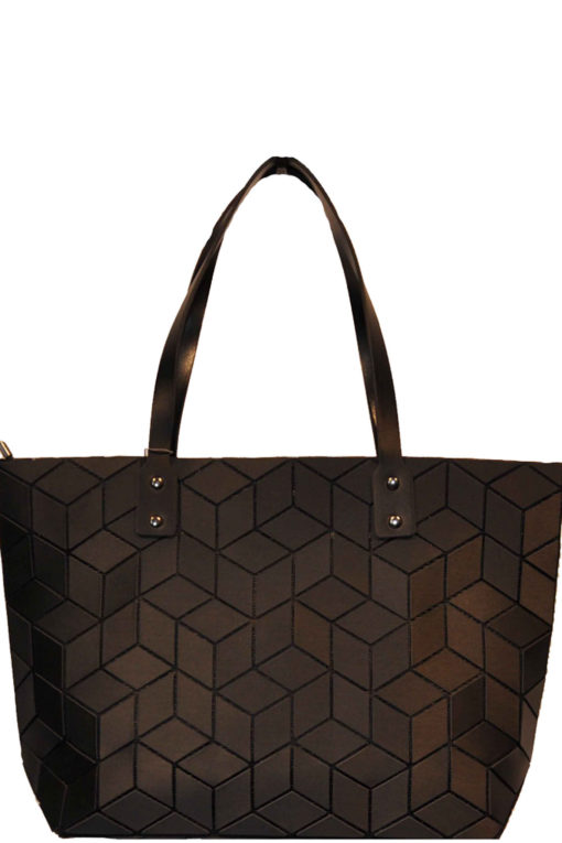 geometric tote bag- black