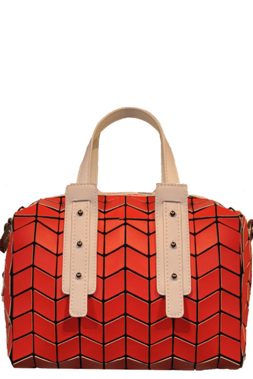 two tone geometric duffle bag- red white