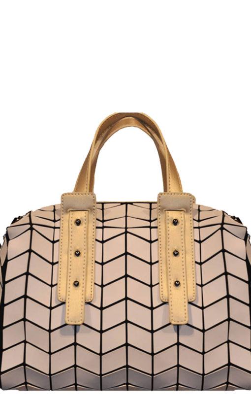 two tone geometric duffle bag- gold white