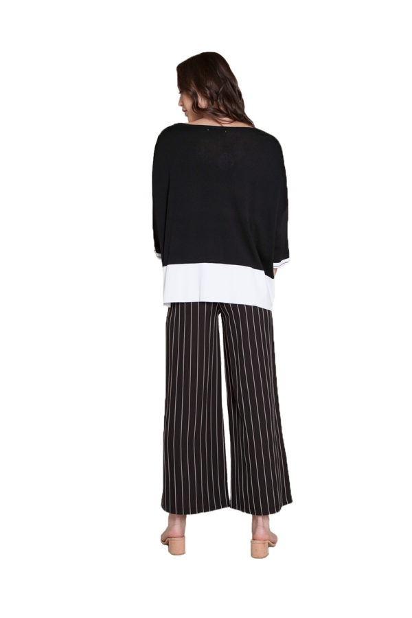black and white knit cardigan- back