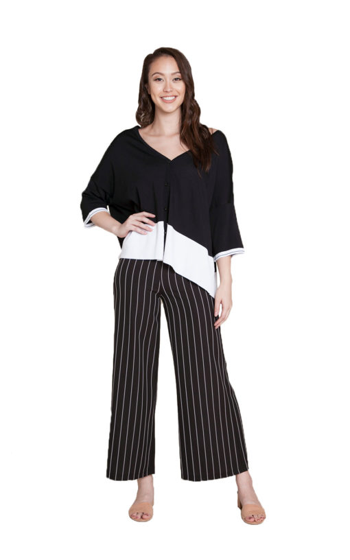 black and white knit cardigan- front
