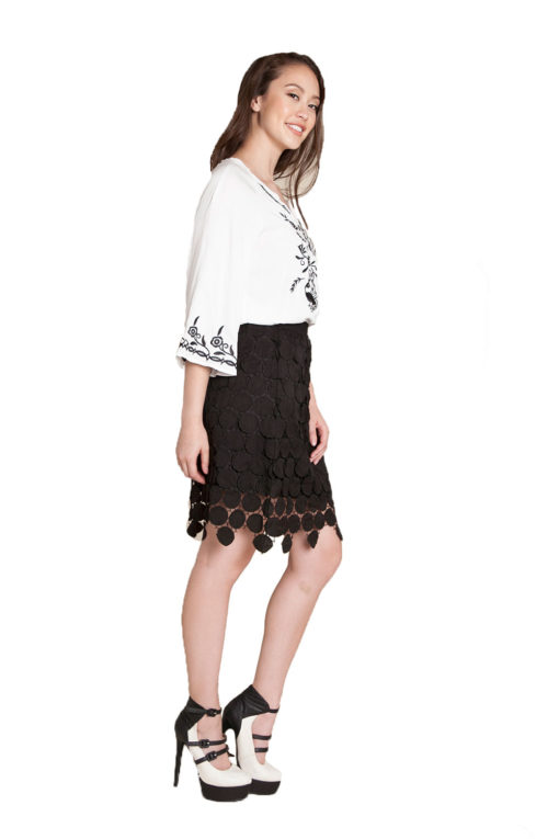 black crochet skirt- side