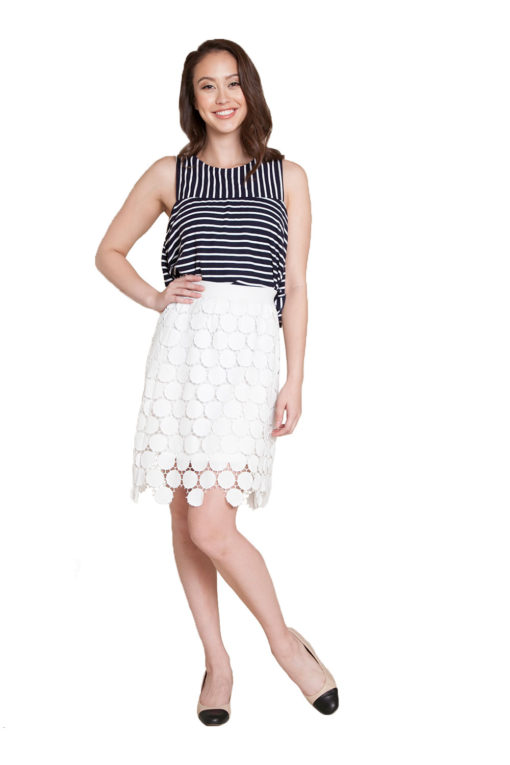 white crochet skirt- front