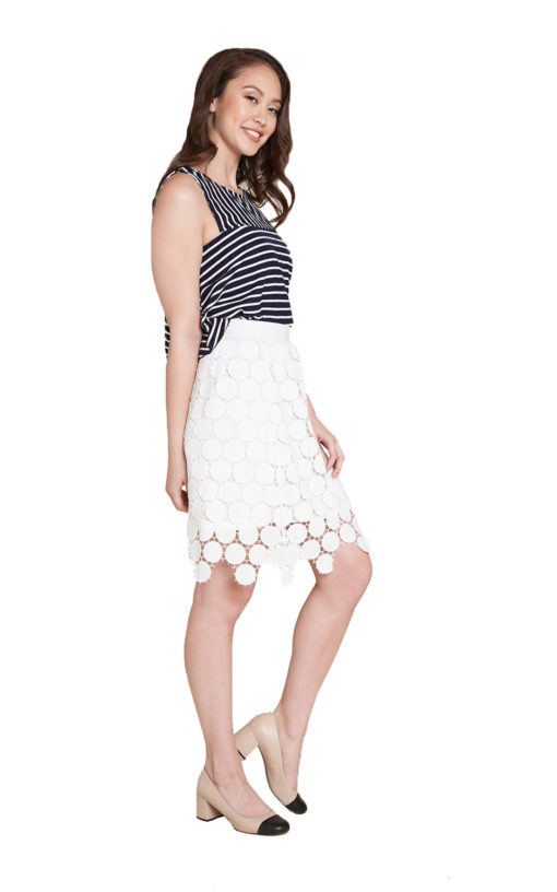 white crochet skirt- side