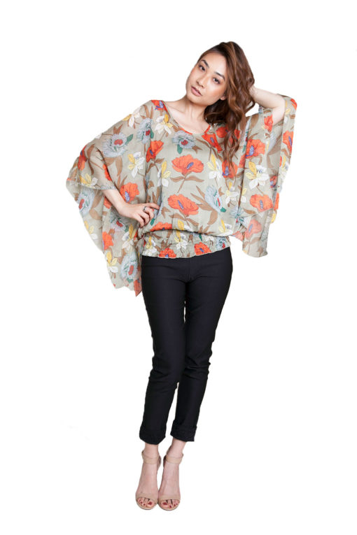 green floral printed top- front