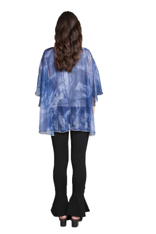 blue printed top- back