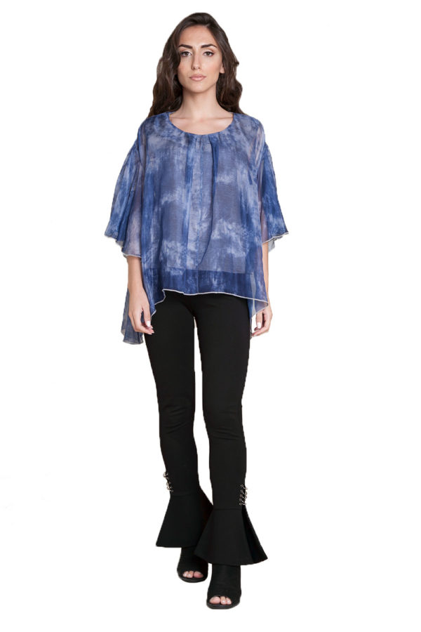 blue printed top- front