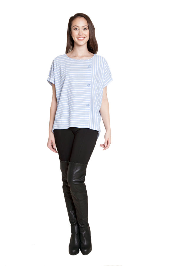 blue striped shirt- front