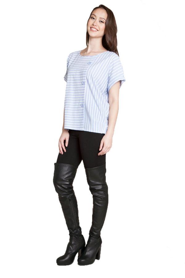blue striped shirt- side