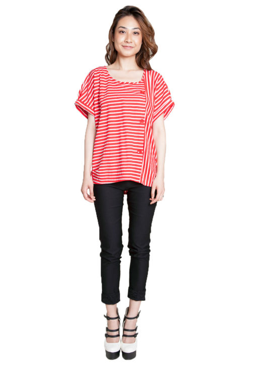 red striped shirt- front