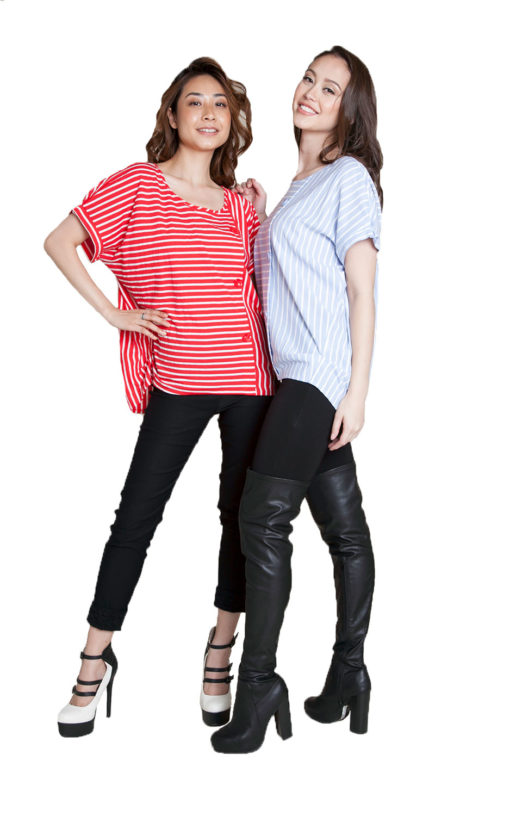 red and blue striped shirts- front