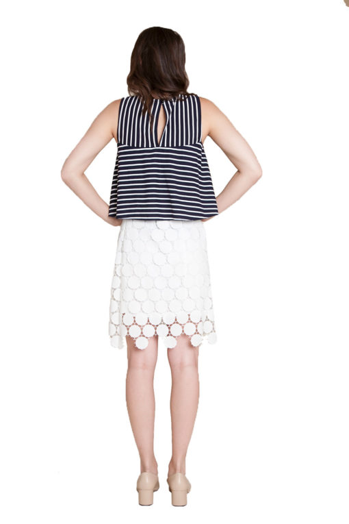 navy striped sleeveless top- back