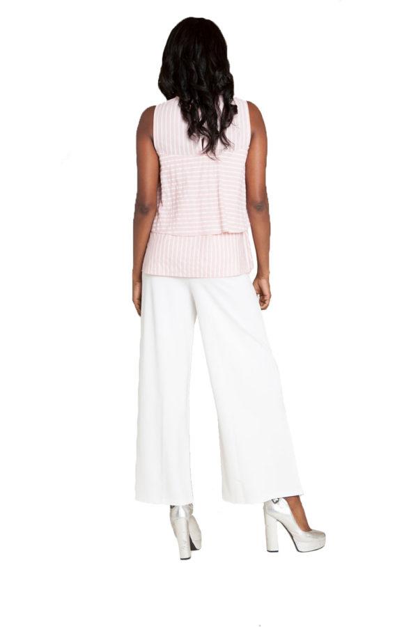 pink stripe sleeveless top- back