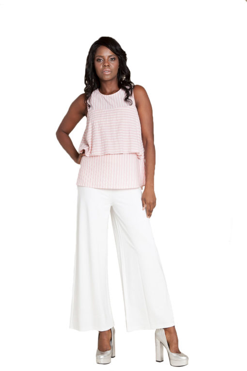 pink stripe sleeveless top- front