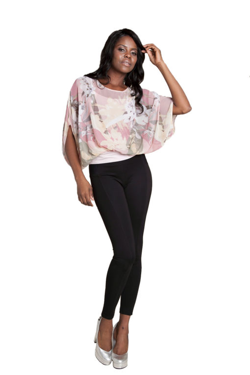 pink floral printed top- front