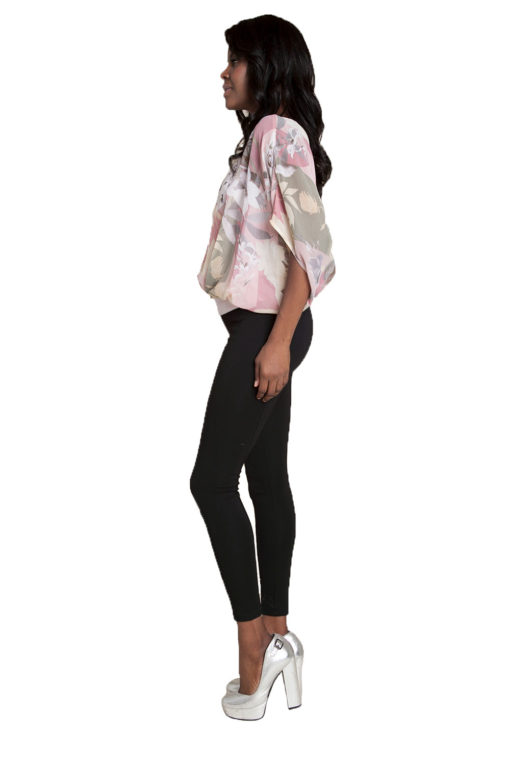 pink floral printed top- side